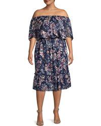 Adrianna Papell Plus Floral Off-the-shoulder Blouson Dress - Blue