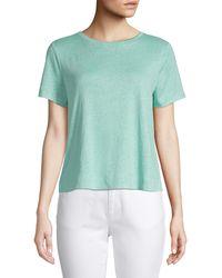 Eileen Fisher Organic Linen Jersey Tee - Green