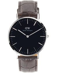 Daniel Wellington Classic York Stainless Steel & Embossed Leather Strap Watch - Black
