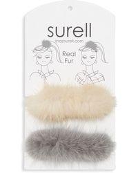 Surell Mink Fur Knit Scrunchie Set - White