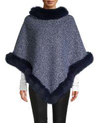 La Fiorentina Tweed Fox Fur-trimmed Poncho - Brown