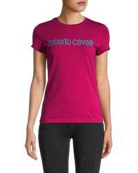 Roberto Cavalli Donna Sparkle Logo T-shirt - Multicolor