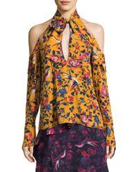 Tanya Taylor Adrienne Kimono Floral Silk Top - Multicolour