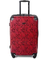 Rebecca Minkoff Pippa 24-inch Snakeskin-print Suitcase - Red