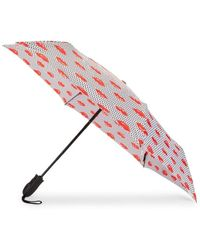 Shedrain Lip-print Folding Umbrella - Red Multi