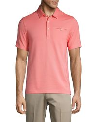 Saks Fifth Avenue Textured Cotton-blend Polo - Pink