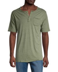 Unsimply Stitched Men's Short-sleeve Cotton Henley - Heather - Size S - Green