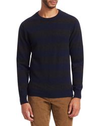 Saks Fifth Avenue Collection Striped Crewneck Cashmere Sweater - Blue