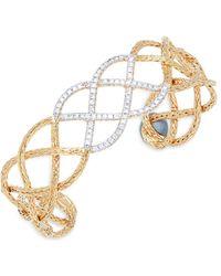 John Hardy - Diamond & 18k Yellow Gold Cuff Bracelet - Lyst