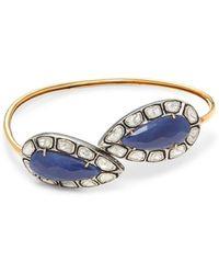 Amrapali 14k Yellow Gold, Sterling Silver, Sapphire & Diamond Bangle Bracelet - Blue