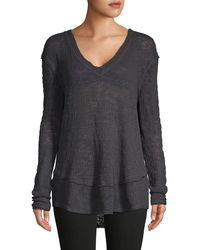 Free People High-low Cotton Sweater - Black