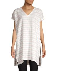 Eileen Fisher Organic Linen Stripe Caftan - White