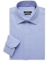 Bugatchi Regular-fit Check Dress Shirt - Blue