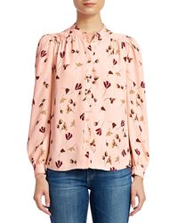 Joie Myella Floral Mandarin Collar Blouse - Pink