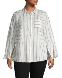 Two By Vince Camuto Plus Striped Cotton Button-down Shirt - Multicolour