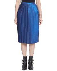 Each x Other Metallic Accordion Pleat Skirt - Blue