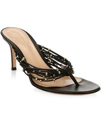 Gianvito Rossi Beaded Leather Thong Sandals - Black