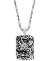 Effy - 18k Gold And Sterling Silver Dragon Pendant Necklace - Lyst