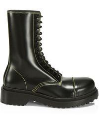 Balenciaga Lace-up Leather Combat Boots - Black