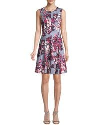Calvin Klein - Poly Floral Fit-&-flare Dress - Lyst