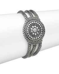 John Hardy - Dot Sterling Silver Medallion Three-row Chain Bracelet - Lyst