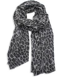 Portolano Women's Animalier Wrap Leopard-print Wool-blend Scarf - Gray