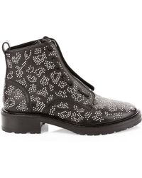 8a3cb7c874f Rag & Bone Cannon Studded Leather Zip Boots in Black - Lyst
