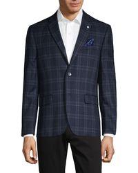 Ben Sherman Standard-fit Stretch-plaid Sportcoat - Blue