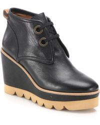 Chloé Ethel Leather Lace-up Wedge Booties - Black