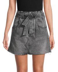 Free People East Of Eden Paperbag Mini Denim Skirt - Black
