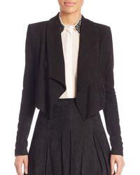 Alice + Olivia Women's Harvey Shawl Collar Suede Jacket - Black - Size S