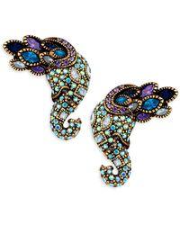 Heidi Daus Multi-color Rhinestone Elephant Earrings - Blue