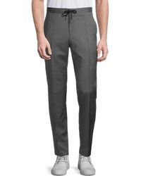 BOSS by Hugo Boss Flat-front Wool Drawstring Trousers - Grey