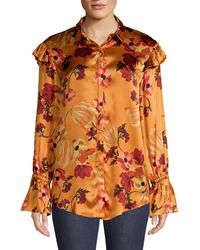 Mother Of Pearl Marin Silk Floral Blouse - Orange