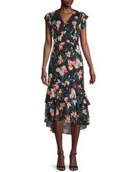 Tommy Hilfiger Floral Ruffle Midi Dress - Black