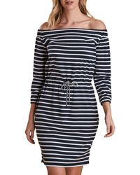 Barbour Waveson Off-the-shoulder Striped Dress - Blue