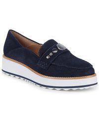 Bernardo Suede Platform Loafers - Blue