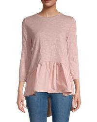 English Factory Women's High-low Hem Top - Dusty Pink - Size Xs