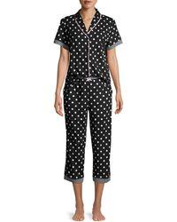 Jane And Bleecker 2-piece Polka Dot-print Pyjama Set - Black