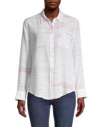 Rails Women's Kate Printed Silk Shirt - Sunburst - Size Xs - White