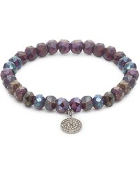 Bavna Sterling Silver, Semi-precious & Diamond Bead Bracelet - Metallic