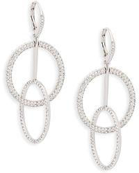 Adriana Orsini - Rhodium Plated Crystal Hoop-link Drop Earrings - Lyst