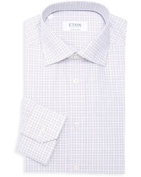 Eton of Sweden Contemporary-fit Grid Check Dress Shirt - White