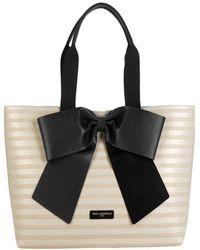 Karl Lagerfeld Bow Straw Tote - Black