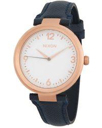 Nixon - Chameleon Leather Stainless Steel Quartz Strap Watch - Lyst