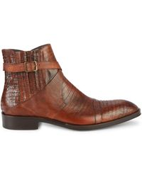 Jo Ghost Lizard-embossed Leather Boots - Brown