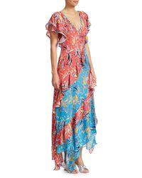 Tanya Taylor Iliana Silk Two-tone Print Tiered Dress - Multicolour