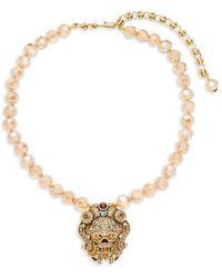 Heidi Daus Women's Lion Crystal Rhinestone Necklace - Metallic