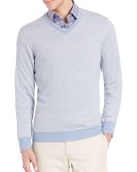 Saks Fifth Avenue - Birdseye Merino Wool V-neck Sweater - Lyst