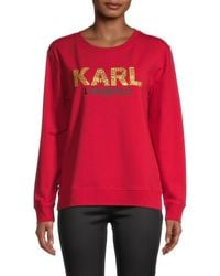 Karl Lagerfeld Graphic Cotton-blend Sweater - Red